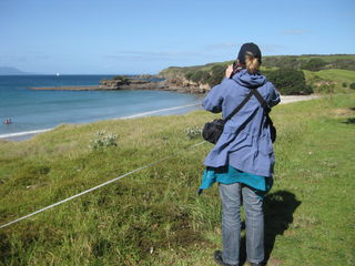 Taking photos at Tawharanui