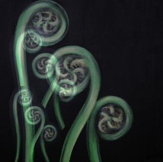 'Ferns on Black - Moko 1'