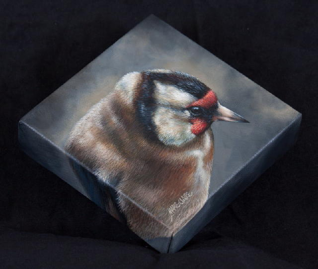 Side view of painting Black Vignette - Goldfinch 1 by Marie-Claire Colyer