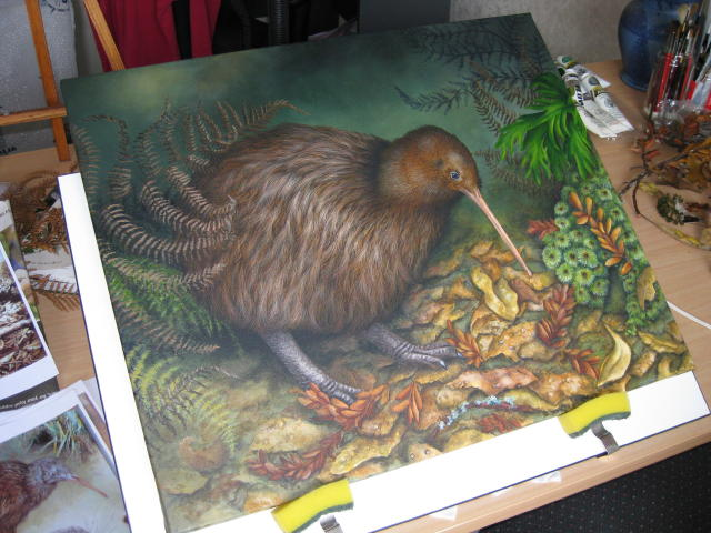 Brown Kiwi Dusk by Marie-Claire Colyer on the easel