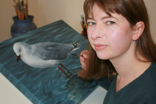 Painting 'Reflections – Red-billed Gull' - 2011