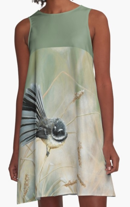 Fantail A-line dress - artwork by Marie-Claire Colyer
