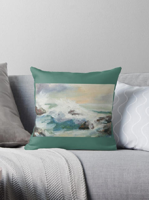 Seascape 2 - throw pillow featuring artwork by Marie-Claire Colyer