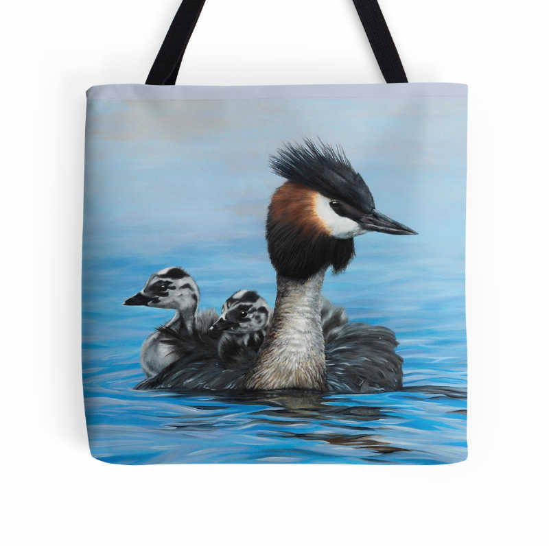 Tote bag - 'Reflections - Australiasian Crested Grebes' by Marie-Claire Colyer