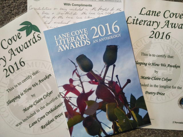 Lane Cove Literary Awards 2016: an Anthology includes a poem by Marie-Claire Colyer