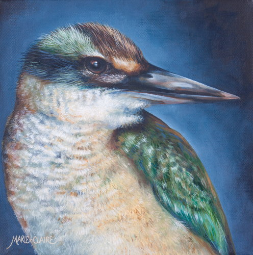 Instagram - Acrylic painting by Marie-Claire Colyer titled Black Vignette - Kingfisher