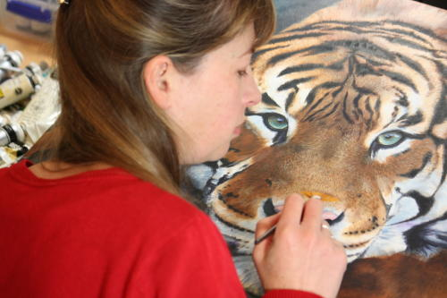 Marie-Claire Colyer painting Sumatran Tiger - Intensity